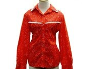 1970s Western Shirt in Red Calico