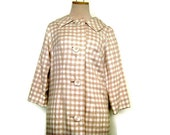 1950s does 1920s Duster Coat by Lilli Diamond in Khaki and Cream Checks