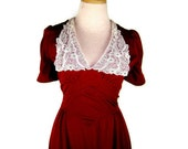 1970s does 1940s Dress with Romantic Lace Collar - Cranberry Red Maxi Dress