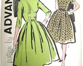 Advance 9677 1950s - 1960s Dress with Full Skirt, Bow and Button Trim (Size 12, Bust 32) Vintage Dress Pattern