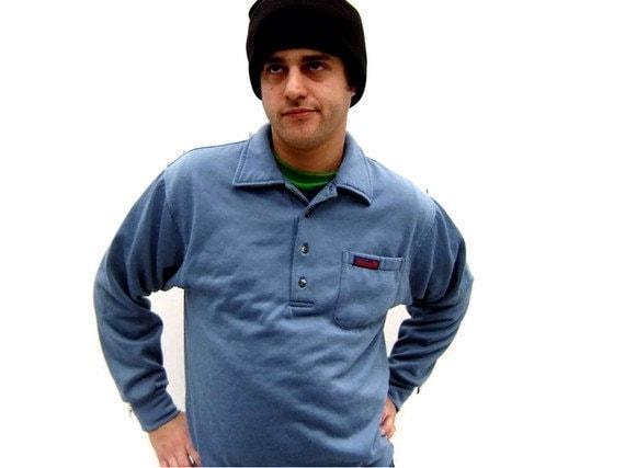 MEN's Vintage 1980s Soft Pullover Blue Sweatshirt