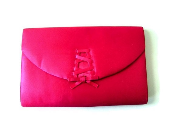 "1980s Fuchsia Purse or Clutch in Satin with ""Corset"" Inspired Detail by La Regale"