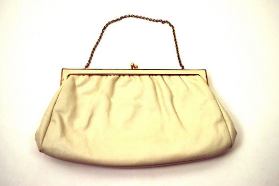 1950s Ivory Leather Purse - Small Cream Colored Handbag by Etra