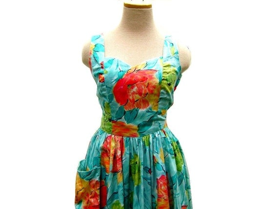 1980s Floral Sundress in Beautiful Bright Colors (size xs-small)