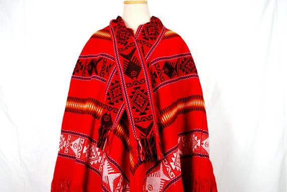 1970s Hippie Poncho - Colorful Red Mexican Style Poncho or Cape