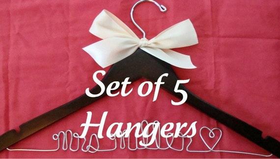 15% off Set of 5 Personalized Custom Bridal Hanger, Brides Hanger, Bride, Name Hanger, Wedding Hanger, Personalized Bridal Gift