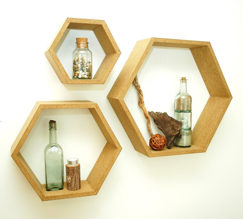 Hexagon Floating Shadow Box Shelves