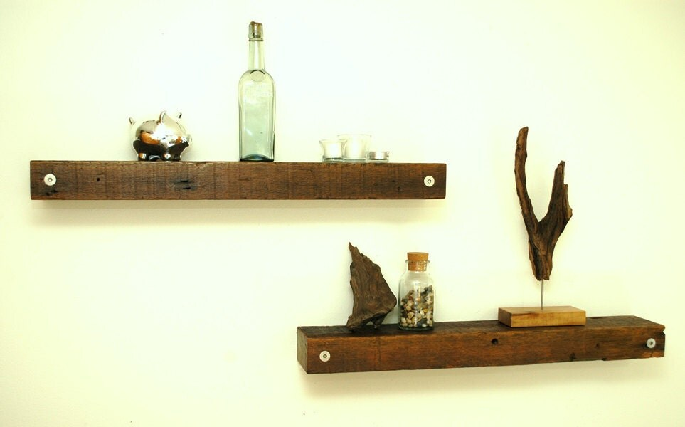 Reclaimed Wood And Metal Wall Shelves: Floating Reclaimed Wood Shelves