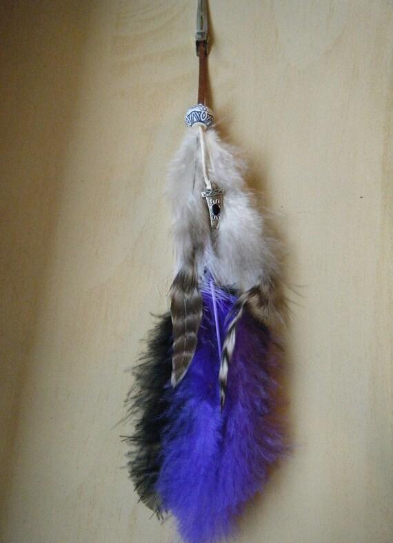 Purple Black Striped Native American Hair Feather Clip