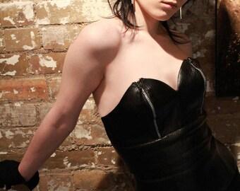Zipper leather bustier