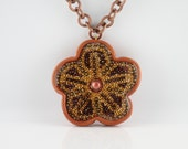 64% OFF AUTUMN FLOWER Micro-Mosaics, Resin and Pearl Pendant Necklace