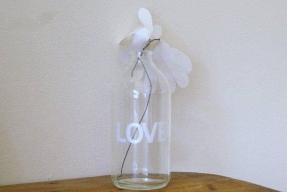 Wedding table centrepiece.LOVE. Large recycled typographic glass apothecary bottle