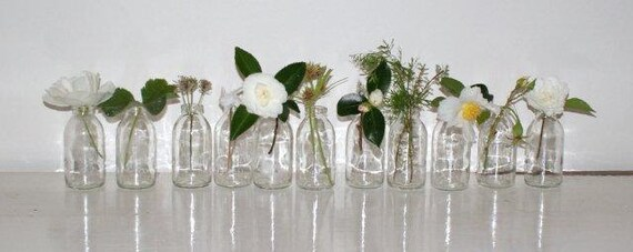 Reserved listing for stoonce.SPRING WEDDING DECOR.Eleven upcycled flower vases bottles.Great for weddings.