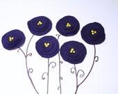 6 Navy Handmade felt flower applique indigo school sew on embelishment diy craft europeanstreetteam