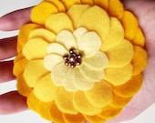 Sunshine Yellow Felt Flower Brooch Soft Chic and Romantic Floral pin romantic shabby fall winter fashion women handmade europeanstreetteam