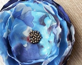 Big Blue silk flower brooch / fascinator / headband corsage bridal flower hair piece corsage europeanstreetteam women fashion