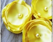 3 Yellow fabric flowers applique handmade canary satin flowers corsage