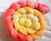 3.5 oz Hand-Painted Polwarth Roving in 'Hibiscus'