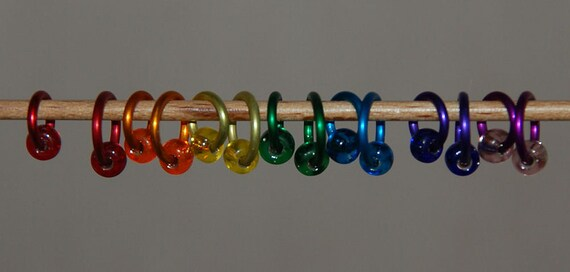 Medium/Large rainbow set of stitch markers