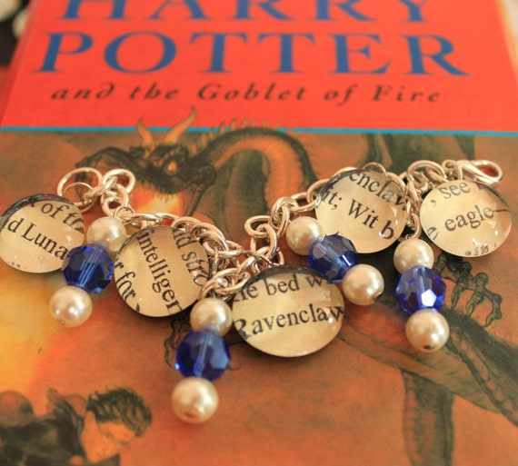 Ravenclaw Bracelet Text Glass Pendant Charms