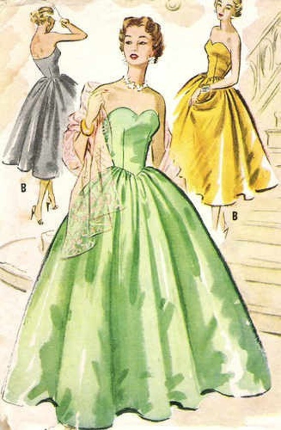 Beautiful Vintage 1950s Ball Gown Evening Dress Mccall S