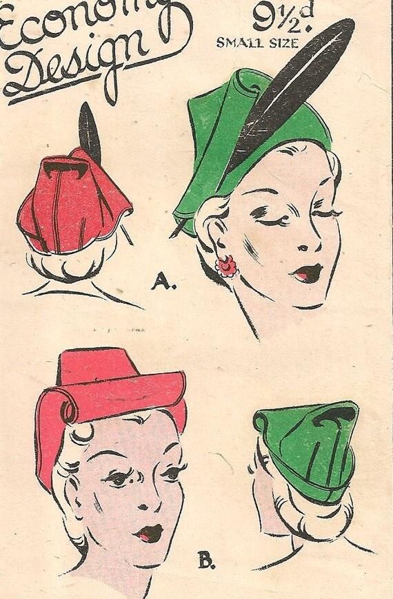 "1940s Hat Pattern - Jaunty Make Do & Mend Wartime WWII Scraps Hat 21"" head"