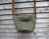 recycled vintage canvas made into a day bag/satchel with oiled leather strap in brown