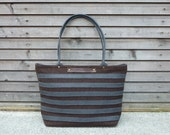 Boiled wool tote bag with waxed leather handles, straps, and a waxed leather bottem COLLECTION WOMEN