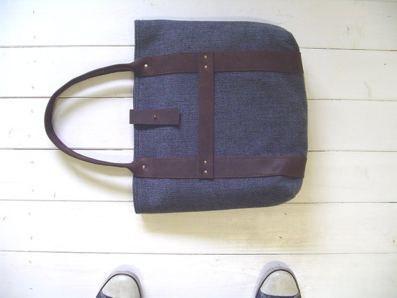 recycled vintage wool tote bag/carry all with leather strap AW2011-collection