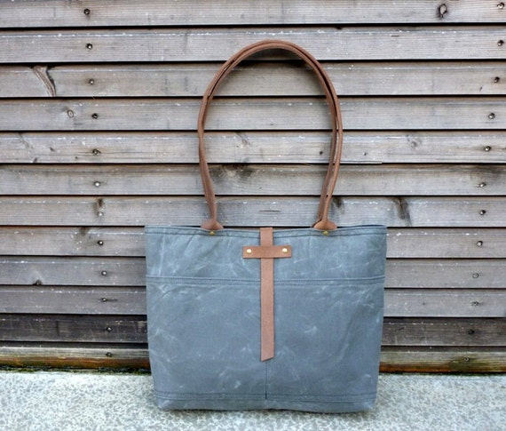Waxed canvas tote bag/shoulderbag  with waxed leather handles and strap COLLECTION WOMEN