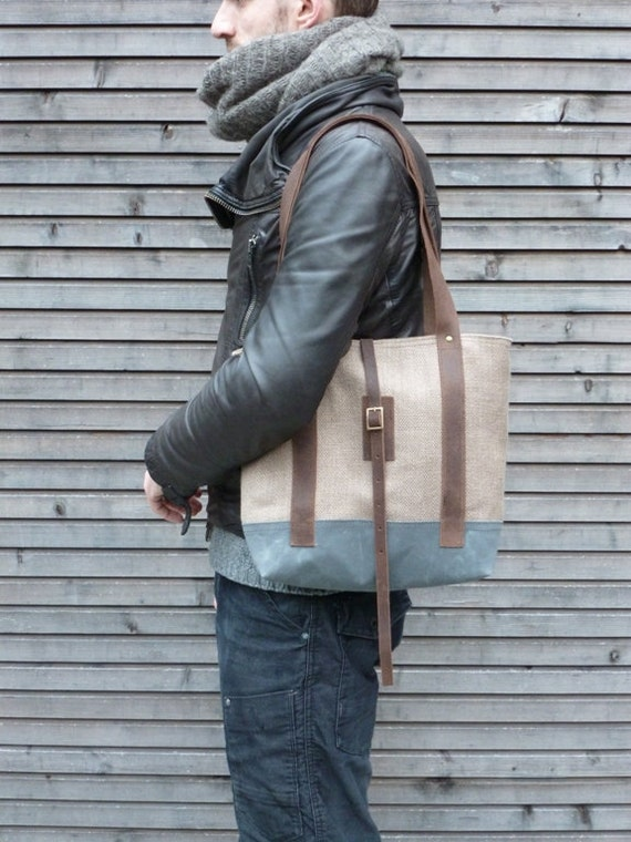 Tote bag made from Belgium linen and waxed canvas COLLECTION WOMEN