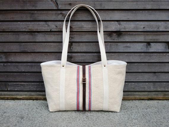 recycled antique linen tote bag,shoulderbag