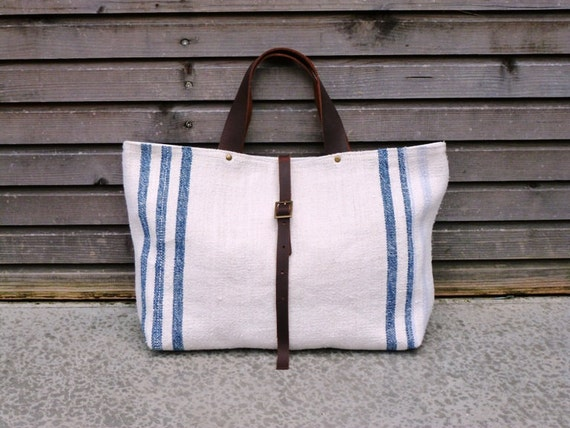 recycled antique linen carry all/tote bag