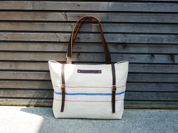 recycled antique linen carry all/tote bag with double buckle closure