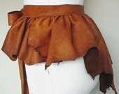 Leather Steampunk Capelet Bustle Belt Leather Peplum Cape Cognac Acorn Chestnut Amber READY
