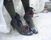 Victorian Steampunk Leather Flower BootStraps & Floral Belts Spats alternative custom order - ManoBello
