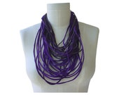 Multi Strand Leather Necklace Boho Necklace Leather Cord Necklace Layered Necklace Loop Scarf, Men Women Unisex Purple Grape Lilac, in stock