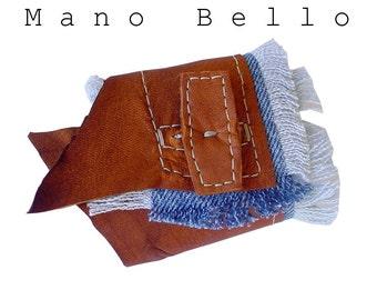 Rustic Leather Cuff, Denim Cuff, Bohemian Fashion Cuff, Blue Saddle Tan Leather, Handstitched Cuff for women 5.5 or 6  in stock on sale