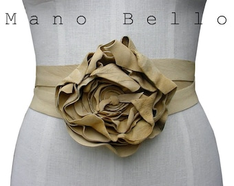 Leather Flower Belt, Rustic Wedding Dress Belt, Wrapping Body Harness, Toasted Beige, Soft Leather Belt, CUSTOM