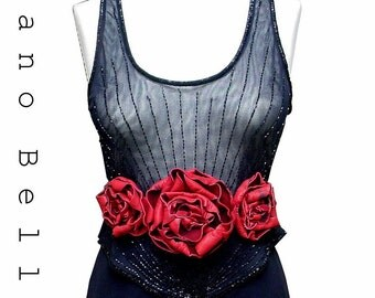 Leather Flowers Belt, Mano Bello, Red Leather Flower Trilogy Belt, Steampunk Wedding one size fits all, in stock