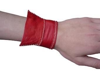 Red Leather cuff bracelet - Handmade - Modern Bracelet - Hand Stitched Leather Cuff - Structured cuff - Japanese Fashion Accessories