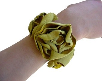 Leather Flower Cuff Leather Bracelet Saffron Yellow & Black one in stock
