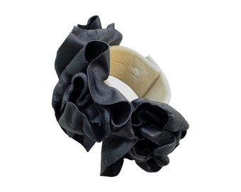 Leather Flowers Bracelet Cuff Black Leather Flower Wrist Corsage Chamois in stock, Black Wedding Corsageonly one