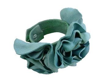 Leather Flower Bracelet Wrist Corsage, Leather Flowers Cuff, Mint Flower Cuff, Seafoam Blue Green Leather Flowers, in stock