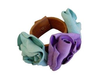 Wrist Corsage Leather Flower Bracelet Cuff Seafoam Blue & Lavender Lilac Rustic Shabby Flower Bracelet Corsage