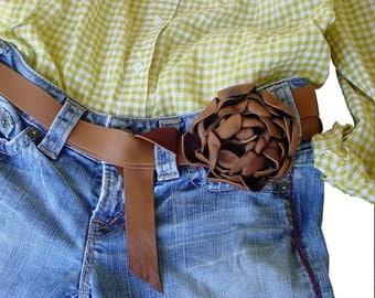 Tan Leather Flower Belt - Leather Tie Belt - Wedding Dress Sash - Flower Belt - Leather Ribbon -  Tobacco Brown -Tan leather belt - custom