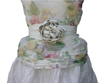 Rustic Leather Flower Belt - Leather Flower Sash - Ivory White - Leather Belt for Dress - Leather Ribbon Belt - Wrap & Tie in stock