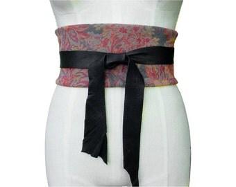 WIDE CORSET BELT Obi Belt Floral Tapestry & Leather Obi Belt or Cummerbund, Wide Underbust Belt, only one , unisex, in stock