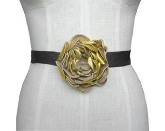 Leather Flower - Wedding Dress Belt  - Metallic Gold leather flower -  Black Leather Ribbon Belt  - Boho Bridal Belt - Boho Wedding sash