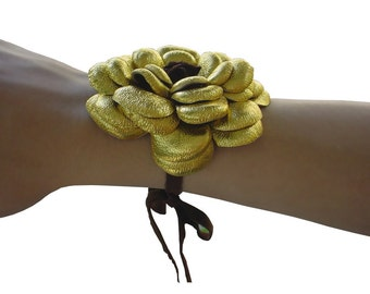 SALE Boho Gold Leather Flower Bracelet, Tie On Cuff, Brown Suede Lacing, Metallic Gold  in stock
